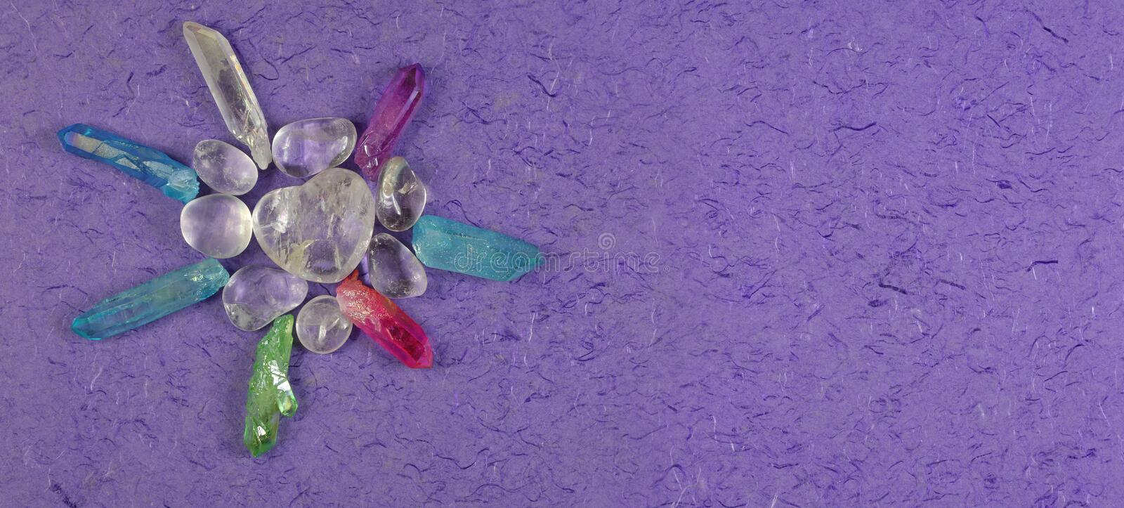 High Resonance Healing Crystals Message Banner royalty free stock photography