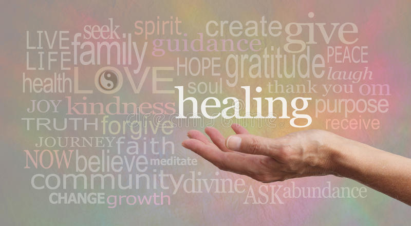 High Resonance Healing Words on pastel background stock photography