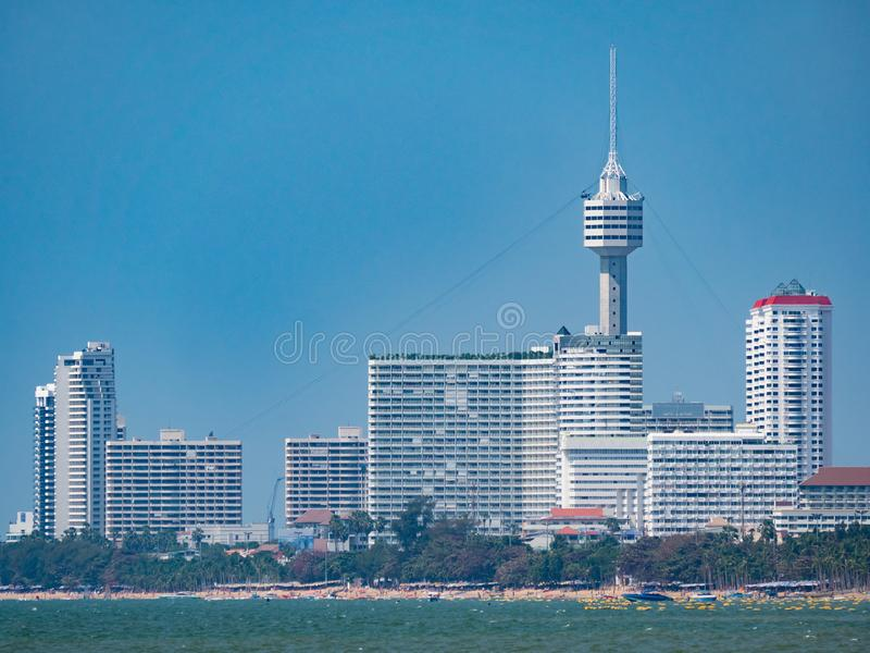 Jomtien Beach, Pattaya, Thailand. High rice buildings and the tower of Pattaya Park along Jomtien Beach in Pattaya, Thailand stock photo