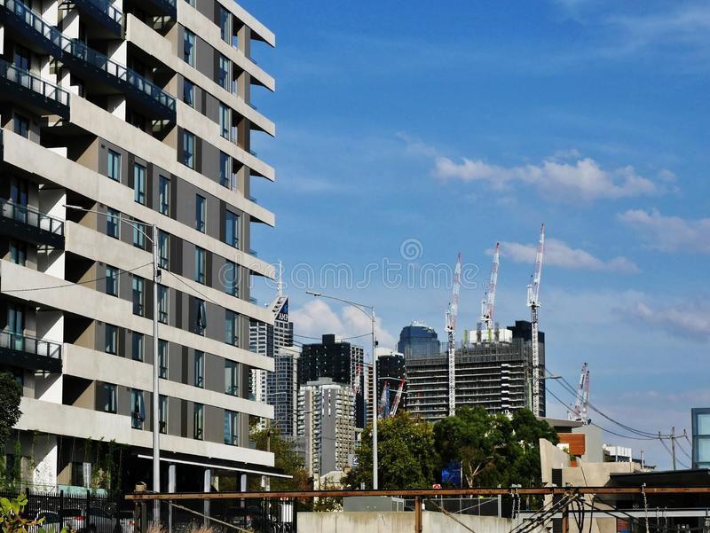 High-rise apartments and construction, West Melbourne, Victoria, Australia royalty free stock images