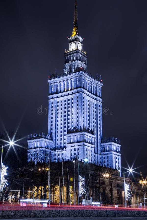 High-rise building. Center of Warsaw Night city. Warszawa. Poland. Polska. Palace of Culture and Science. royalty free stock photo