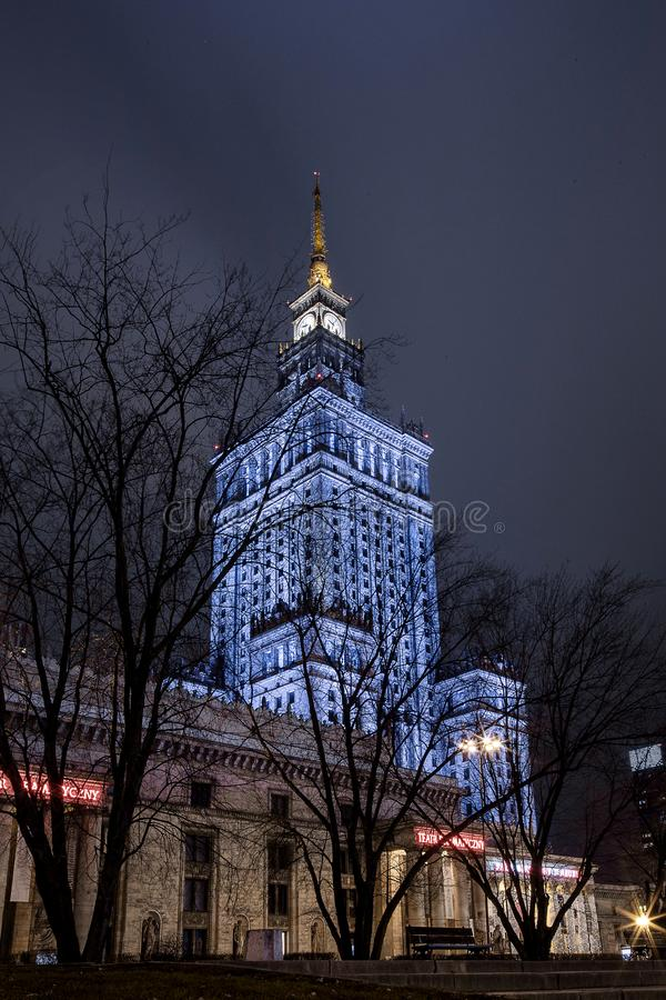 High-rise building. Center of Warsaw Night city. Warszawa. Poland. Polska. Palace of Culture and Science. High-rise building. Center of Warsaw Night city stock images