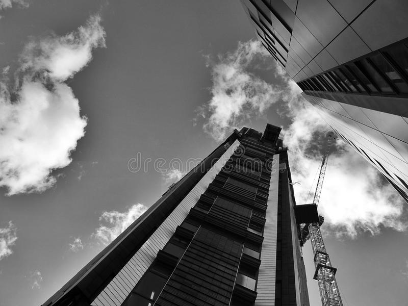 High rise building with crane stock photos