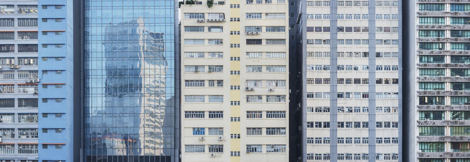 Facade of industrial buildings in Hong Kong city stock photo