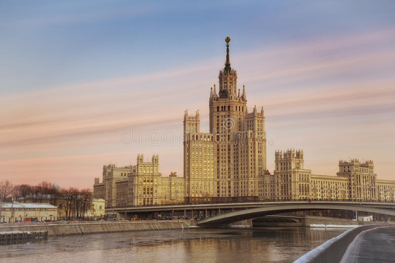 High-rise building on Konelnicheskaya Embankment in Moscow royalty free stock photo
