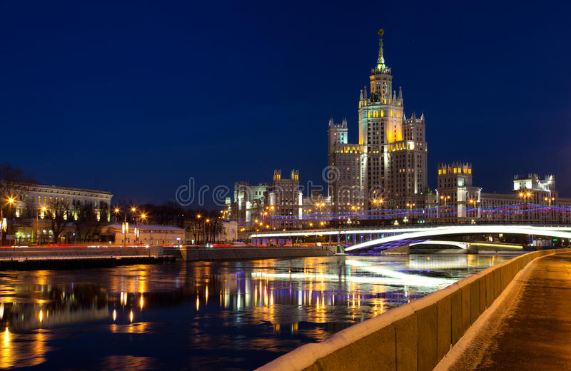 High-rise building on Kotelnicheskaya Embankment in night illumination, Moscow. One of seven Stalin skyscrapers: the high-rise building on Kotelnicheskaya royalty free stock photo