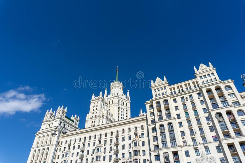 High-rise building on Kotelnicheskaya embankment, one of few famous highrise buildings of Stalin time. Symbols of time stock photo