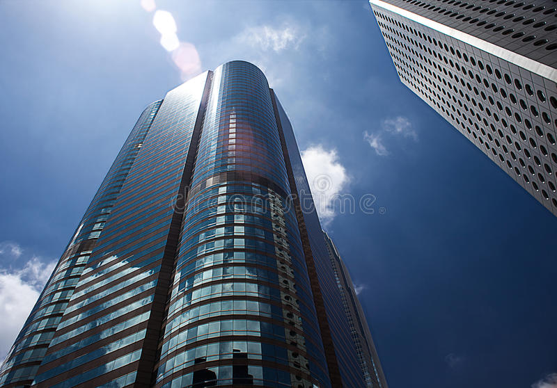High-rise building. Looking up at a high-rise building on a sunny day royalty free stock photos