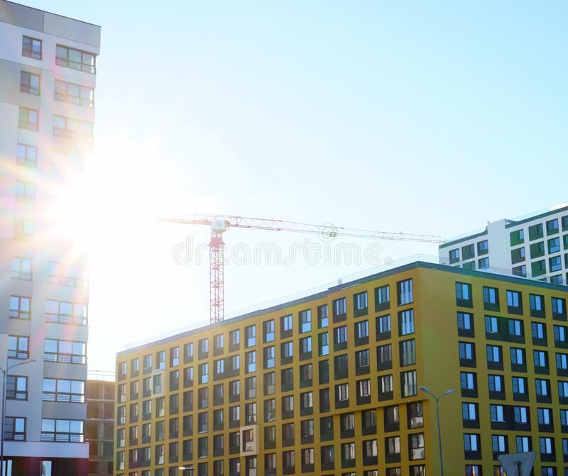 High-rise building in a modern style. Residential, office building in the city metropolis. Comfortable housing for the active royalty free stock photos