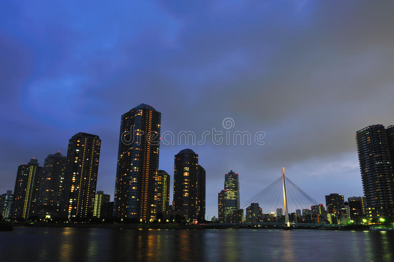 High rise building at night royalty free stock photography
