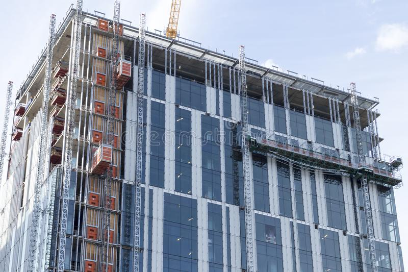 High rise building under construction in downtown Portland Oregon stock photo