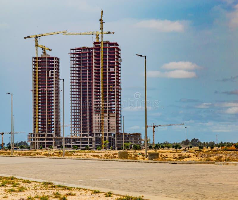 High rise building under construction on Eko Atlantic City Lagos Nigeria. West Africa. Eko Atlantic City is built on reclaimed land in the Atlantic Ocean in the royalty free stock images