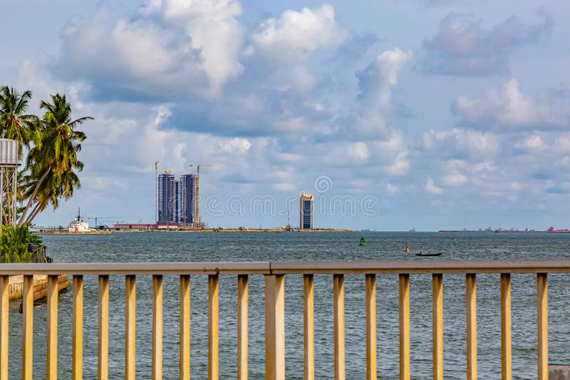 High rise building under construction on Eko Atlantic City Lagos Nigeria. West Africa. Eko Atlantic City is built on reclaimed land in the Atlantic Ocean in the stock image