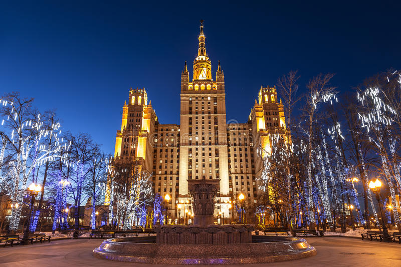 High-rise building on Uprising square in christmas decoration at night, Moscow royalty free stock photo