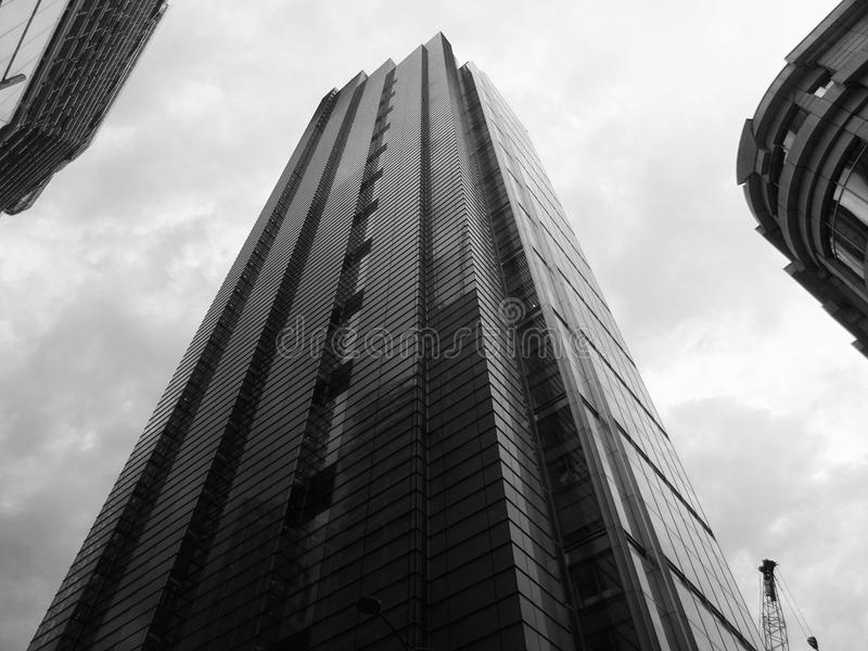 High rise buildings in black and white royalty free stock photography