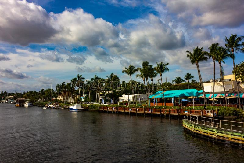 High Rise Buildings and Boats along the Inland Waterway in Delray Beach Florida. Along the inland water way in Delray Beach you can find many upscale boats and stock photo