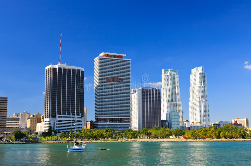 The high-rise buildings in downtown Miami stock photo