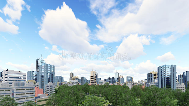 High rise buildings and green park zone. Abstract city district with modern high rise buildings skyscrapers and green park zone against cloudy sky at daytime. 3D stock illustration