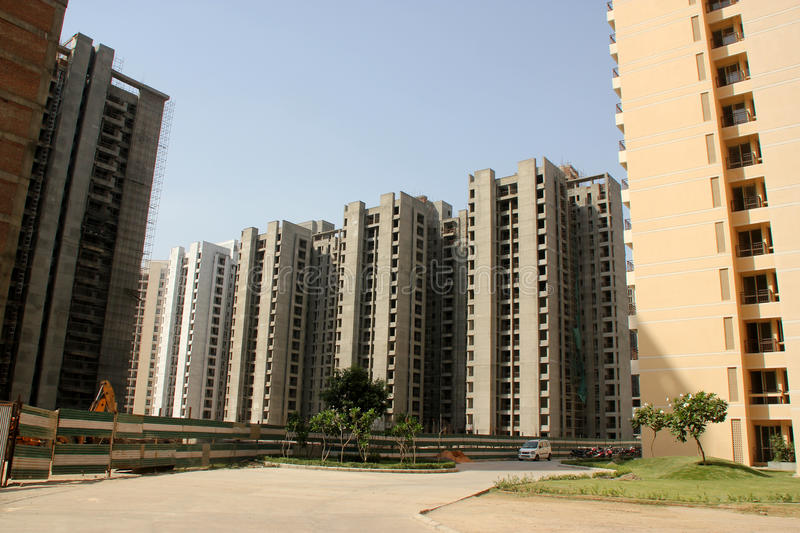 High rise buildings, Jaypee Greens, Noida, India. Housing complex with well planned buildings and surroundings stock image
