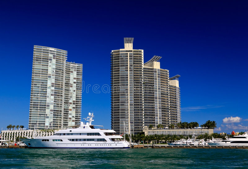 The high-rise buildings in Miami Beach royalty free stock image