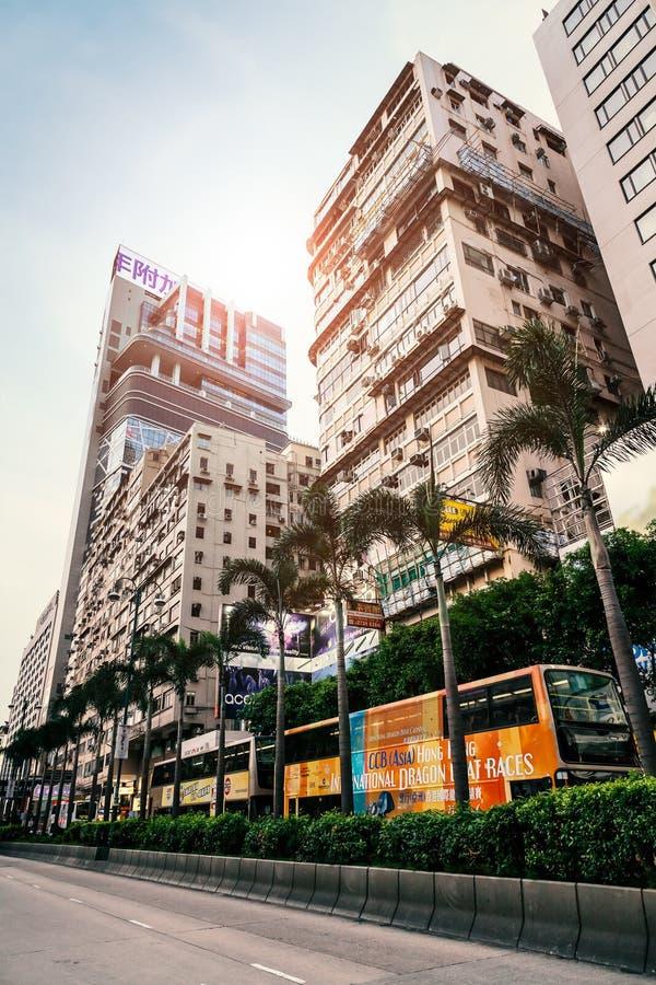 High rise buildings on the street of Hong kong. High rise buildings on the street of Sham Mong Road, Hong Kong, China, 21 June, 2013 royalty free stock image