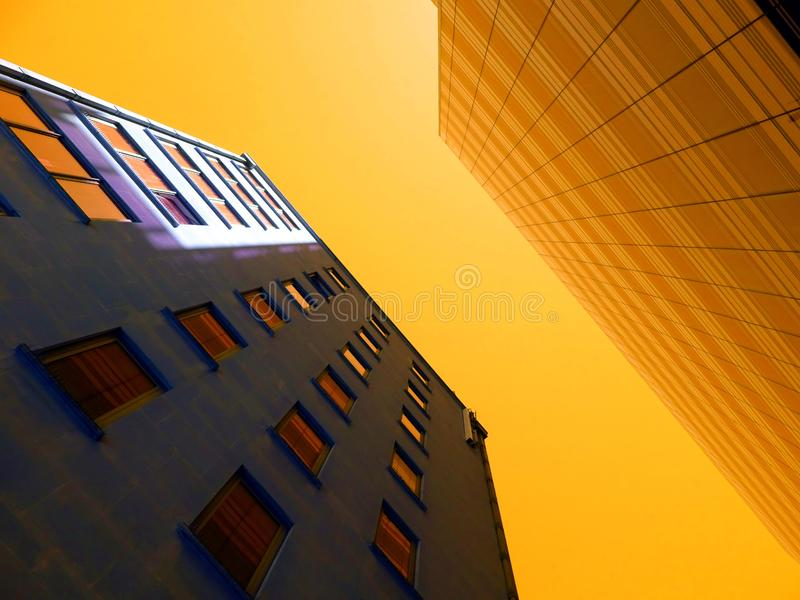 High rise buildings at sunset stock photo