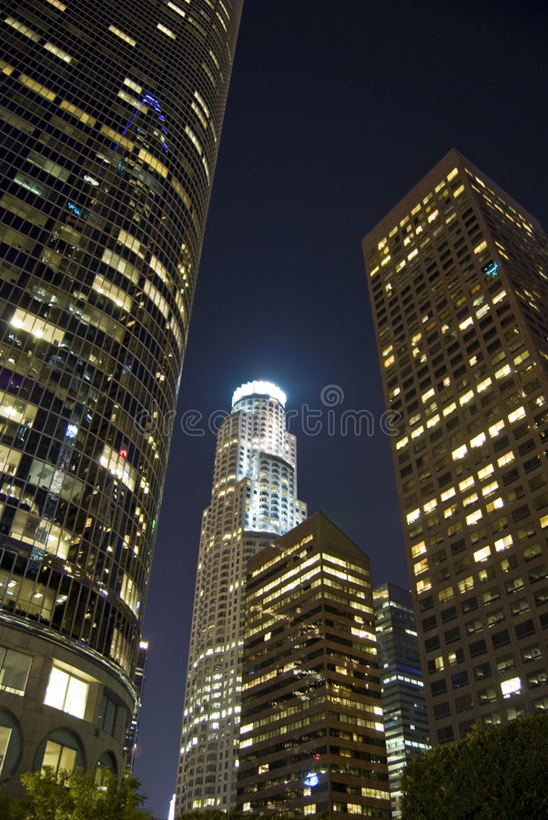 High rise City at night royalty free stock images