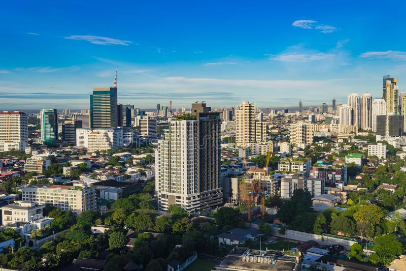 High rise Cityscape Bangkok skyline in Thailand, Bangkok is metropolis and favorite place for tourists in South East royalty free stock photography