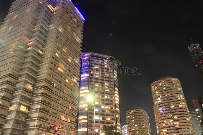 High-rise condominium in Yokohama Minatomirai. 21, Japan night scene stock photography