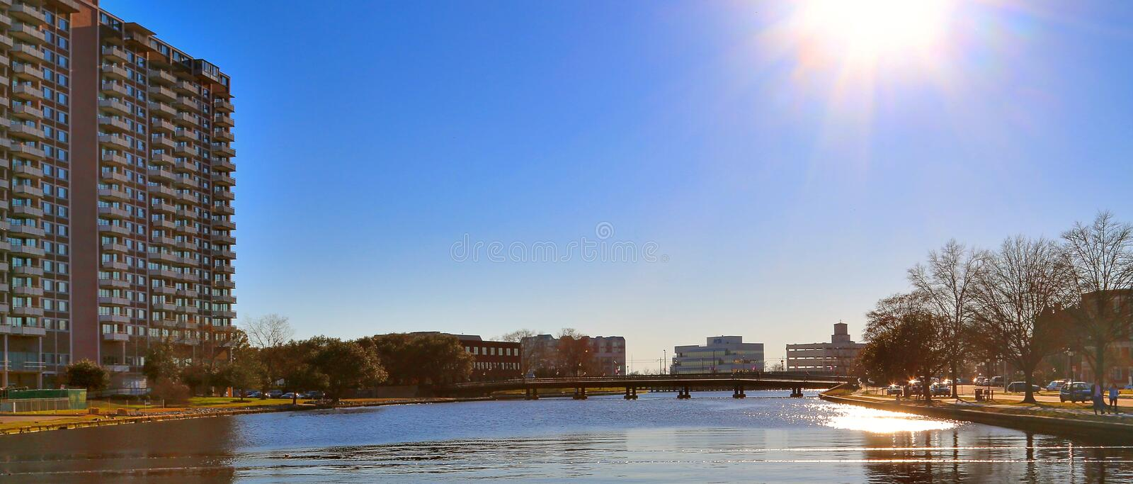 High Rise Condominiums In Beautiful Downtown Norfolk royalty free stock image