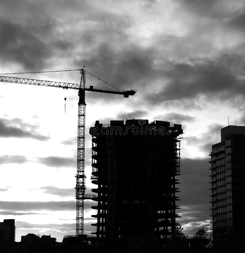 High Rise Construction Evening Stock Photo