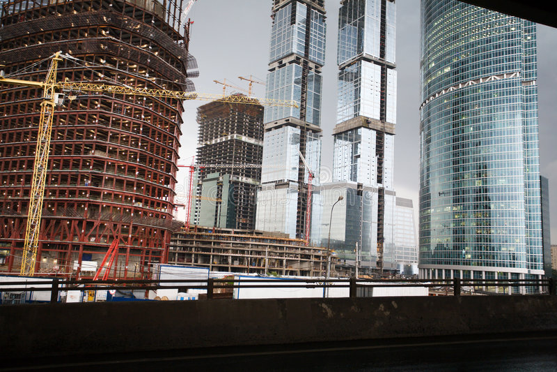 High-rise gebouwen in aanbouw royalty-vrije stock foto's