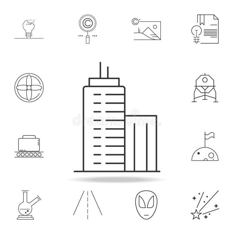 high-rise gebouwenpictogram Gedetailleerde reeks Webpictogrammen en tekens Premie grafisch ontwerp Één van de inzamelingspictogra vector illustratie