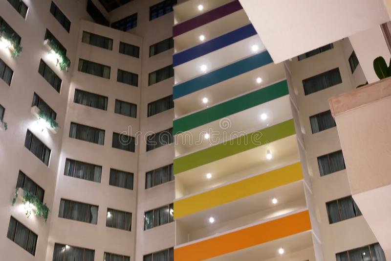 High rise hotel building inside big shopping mall royalty free stock images