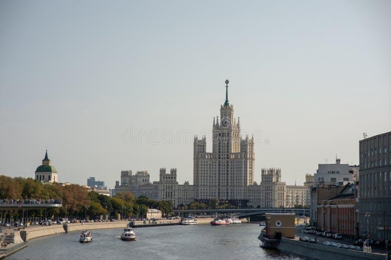 High-rise on kotelnicheskaya Quay. High-rise on kotelnicheskaya Quay, view from the river royalty free stock photo