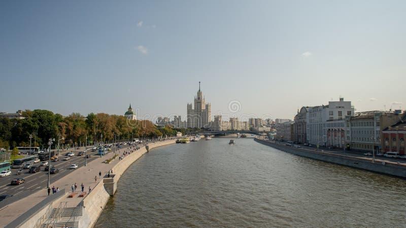 High-rise on kotelnicheskaya Quay. High-rise on kotelnicheskaya Quay, view from the river royalty free stock image