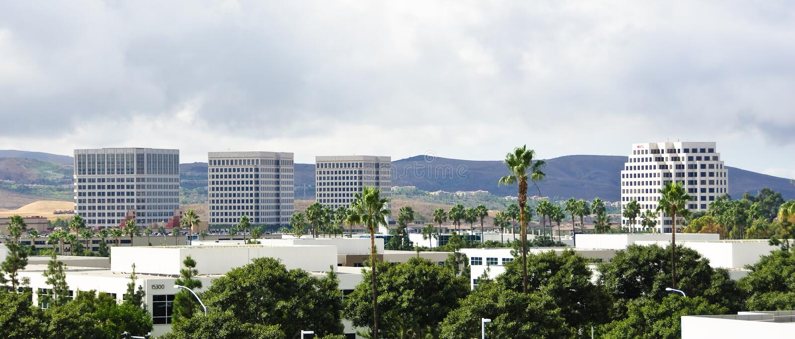 High Rise Living. Buildings in Irvine California with beautiful clouds stock photos