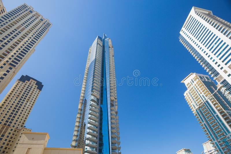 High rise and modern buildings in Dubai Marina, UAE royalty free stock images