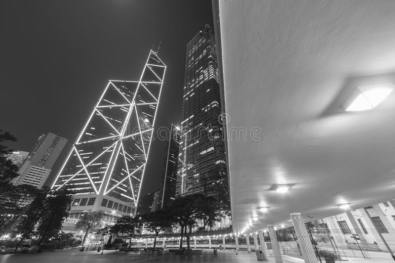 High rise modern office buildings in Hong Kong city stock image