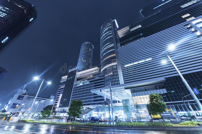 Downtown of Nagoya City, Japan at night. High rise office building in Nagoya City, Japan stock photos