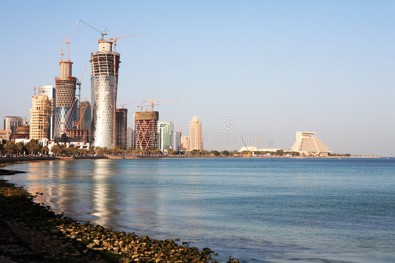 High-rise ontwikkeling in Qatar royalty-vrije stock afbeelding