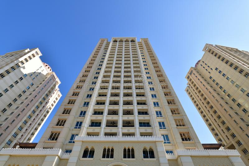 High-rise residential building in the Arab style, Qatar. High-rise residential building in Arab style, Qatar royalty free stock photography