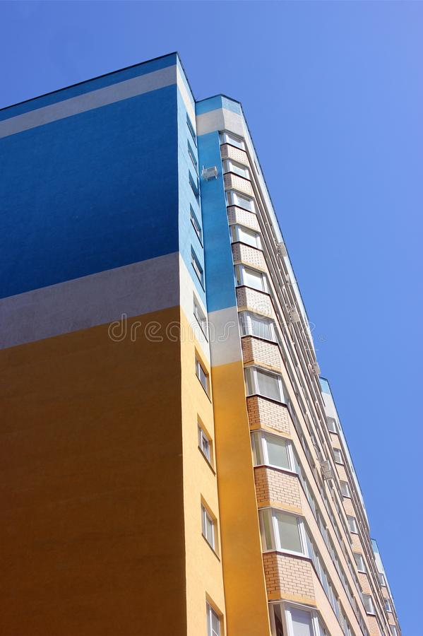 High-rise residential building, the front of the building, the exterior of an apartment building, urban housing stock photo