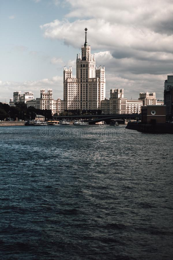 High-Rise residential building on the Kotelnicheskaya embankment of the Moscow river in Russia.One of the seven skyscrapers of the stock images