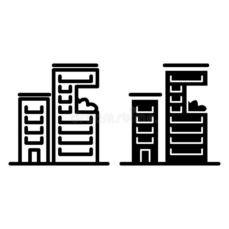 High-rise rooilijn en glyph pictogram Moderne wolkenkrabber vectordieillustratie op wit wordt geïsoleerd De stijl van het huisove vector illustratie
