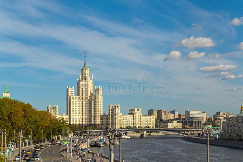 High-rise view on Kotelnicheskaya Embankment. Moscow. View of a high-rise building on Kotelnicheskaya Embankment and the river in Moscow on a sunny summer day stock photography
