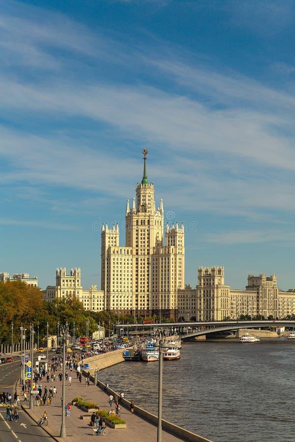 High-rise view on Kotelnicheskaya Embankment. Moscow. View of a high-rise building on Kotelnicheskaya Embankment and the river in Moscow on a sunny summer day stock image