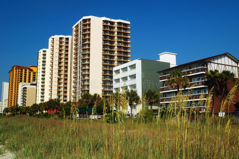 High rises on Myrtle Beach. High Rise condos and hotels rise on the oceanfront in Myrtle Beach, South Carolina royalty free stock photography