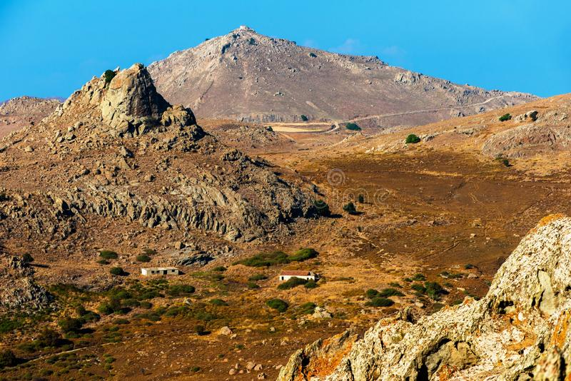 High rocky hills in island Limnos, Greece. royalty free stock photo