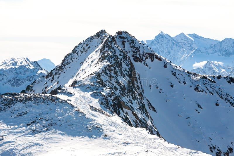 High rocky mountain landscape. Beautiful scenic view of mount. Alps ski resort. Austria, Stubai, Stubaier Gletscher royalty free stock images